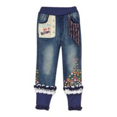 "Rock'nStyle Girls Blue Trimmed ""Cute As a Button"" Denim Pants 3-8T"