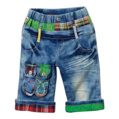 Rock'nStyle Boys Blue Red Plaid Green Knee-Length Denim Pants 2-8T