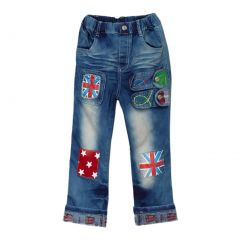 Rock'nStyle Boys Blue Flag Detail Patch Stretchy Denim Pants 2-8T