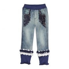 Rock'nStyle Girls Blue Rusching Trim Owl Patch Denim Pants 2-8T