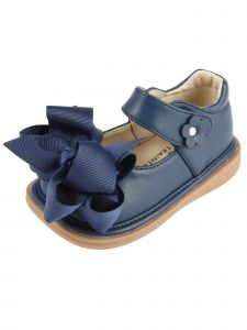 Mooshu Trainers Baby Girls Navy Bow Squeaky Mary Jane Shoes 3-4