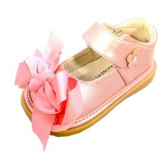 Mooshu Trainers Girls Dusty Rose Bow Squeaky Mary Jane Shoes 3 Baby-9 Toddler