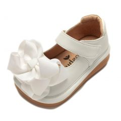 Mooshu Trainers Girls White Bow Squeaky Mary Jane Shoes 3 Baby-9 Toddler