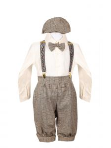 Rafael Collection Baby Boys Brown 5 Pcs Suspender Hat Trendy Outfit Set 0-24M