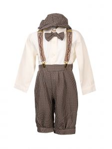 Rafael Collection Baby Boys Dark Taupe 5 Pcs Suspender Hat Trendy Outfit 0-24M