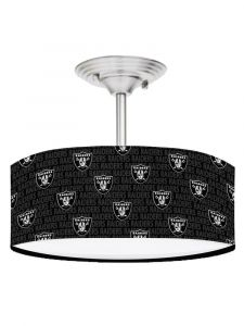 Black Oakland Raiders Football 13 Inches Ceiling Mount Light Fixture
