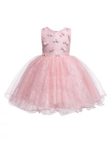 Rain Kids Baby Girls Blush 3D Floral Accented Lace Flower Girl Dress 6-12M