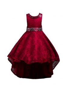Rain Kids Big Girls Burgundy Beaded Full Lace Hi-Low Flower Girl Dress 8-14