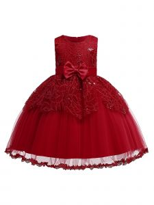 Rain Kids Little Girls Burgundy Leaf Applique Tulle Flower Girl Dress 2-4T