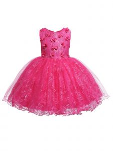 Rain Kids Baby Girls Fuchsia 3D Floral Accented Lace Flower Girl Dress 6-12M