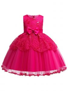 Rain Kids Baby Girls Fuchsia Leaf Applique Tulle Flower Girl Dress 12M