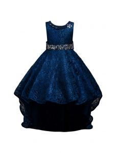 Rain Kids Little Girls Navy Beaded Full Lace Hi-Low Flower Girl Dress 4-6