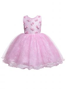 Rain Kids Baby Girls Pink 3D Floral Accented Lace Flower Girl Dress 12M