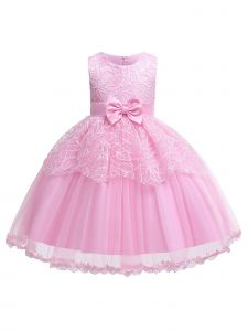Rain Kids Baby Girls Pink Leaf Applique Tulle Flower Girl Dress 6-12M