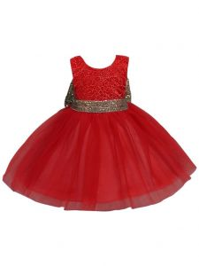 Rain Kids Little Girls Red Beaded Floral Lace Bow Flower Girl Dress 3-6