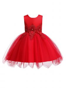 Rain Kids Girls Multi Color Floral Applique Tulle Flower Girl Dress 12M-8