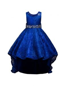 Rain Kids Little Girls Royal Blue Beaded Full Lace Hi-Low Flower Girl Dress 4-6