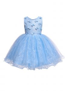 Rain Kids Baby Girls Sky Blue 3D Floral Accented Lace Flower Girl Dress 6-12M