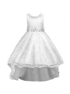 Rain Kids Little Girls White Beaded Full Lace Hi-Low Flower Girl Dress 4-6