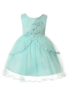 Rain Kids Baby Girls Aqua Pleated Tulle Floral Special Occasion Dress 6-24M