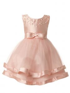 Rain Kids Baby Girls Blush Pearl Beaded Bow Satin Special Occasion Dress 18M