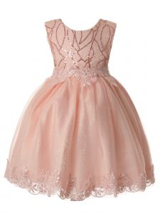 Rain Kids Baby Girls Blush Pink Sequin Lace Tulle Special Occasion Dress 6-24M
