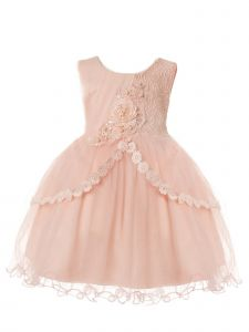 Rain Kids Baby Girls Blush Pleated Tulle Floral Special Occasion Dress 6-24M