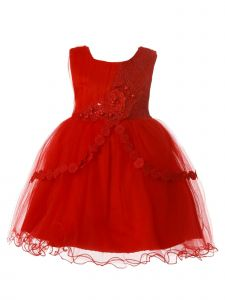 Rain Kids Baby Girls Red Pleated Tulle Floral Christmas Dress 6M