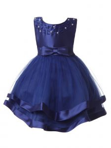 Rain Kids Baby Girls Royal Blue Pearl Beaded Bow Satin Christmas Dress 6-24M