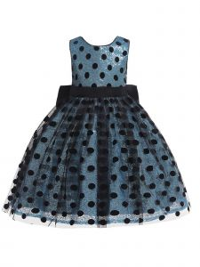 Rain Kids Baby Girl Light Blue Sequin Polka Dot Tulle Christmas Dress 6M-12M
