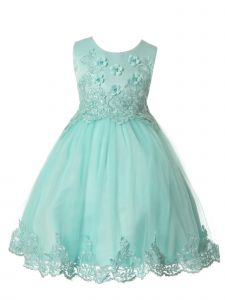 Rain Kids Little Girls Aqua Floral Bodice Applique Special Occasion Dress 3-6