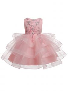 Rain Kids Girls Blush Floral Applique Tulle Skirt Christmas Dress 12M-8