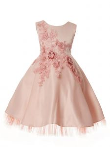 Rain Kids Little Girls Blush 3D Flower Applique Special Occasion Dress 3-6