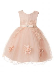 Rain Kids Baby Girls Blush Pleated Tulle Bodice Flower Girl Dress 6-24M