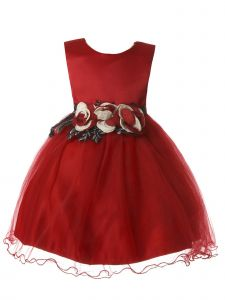 Rain Kids Baby Girls Burgundy Satin Bodice Two Tone Flower Girl Dress 6-24M
