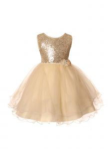 Rain Kids Little Girls Champagne Sequin Organza Tulle Christmas Dress 3-6
