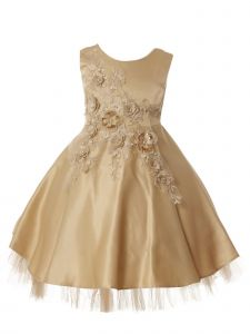 Rain Kids Big Girls Champagne 3D Flower Applique Junior Bridesmaid Dress 8-10