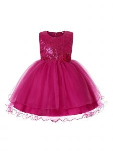 Rain Kids Big Girls Fuchsia Sequin Organza Tulle Christmas Dress 8-12