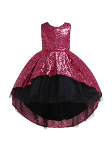 Rain Kids Big Girls Fuchsia Sequin Hi-Low Skirt Tulle Christmas Dress 8-10