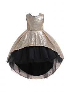 Rain Kids Big Girls Gold Sequin Hi-Low Skirt Tulle Christmas Dress 8-10