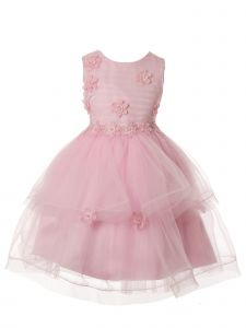 Rain Kids Little Girls Pink Delicate Flower Applique Special Occasion Dress 3-6