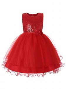 Rain Kids Big Girls Red Sequin Organza Tulle Christmas Dress 8-12