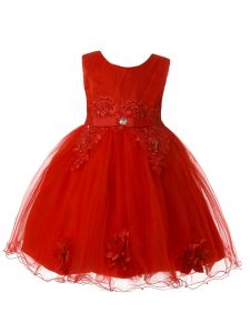 Rain Kids Baby Girls Multi Color Pleated Tulle Bodice Flower Girl Dress 6-24M