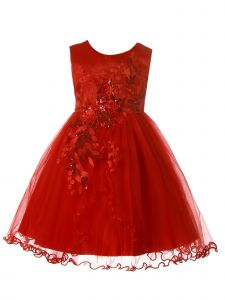 Rain Kids Big Girls Red Satin Bodice 3D Flower Lace Christmas Dress 8-10