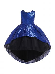 Rain Kids Little Girls Royal Blue Sequin Hi-Low Skirt Tulle Christmas Dress 3-6