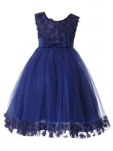 Rain Kids Little Girls Royal Blue Glittered Lace Bodice Christmas Dress 12M-8