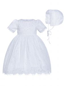 Rainkids Little Girls White Pearl Lace Bonnet Full Length Christening Gown 0-4