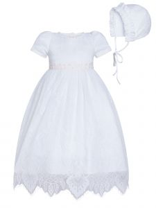 Rainkids Baby Girls White Puff Sleeves Lace Bonnet Christening Gown 12M