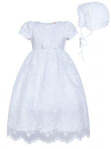 Rainkids Baby Girls White Puff Sleeves Lace Bow Bonnet Christening Gown 0-3