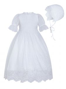 Rainkids Baby Girls White Puff Sleeves Scalloped Hem Bonnet Baptism Gown 12M